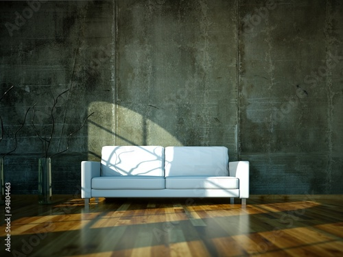 Wohndesign - weisses Sofa vor Betonwand