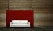 Wohndesign - weisses Sofa vor Holzwand