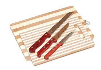 Kitchen knifes on board