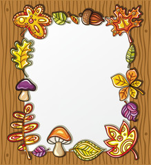 Vector frame with autumnal nature symbols 2