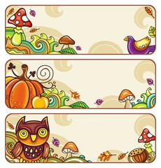 Vector set of decorative autumnal banners. part 1