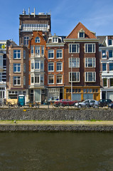 Classic amsterdam view. Residential homes