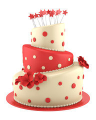 big round red and yellow cake isolated on white background