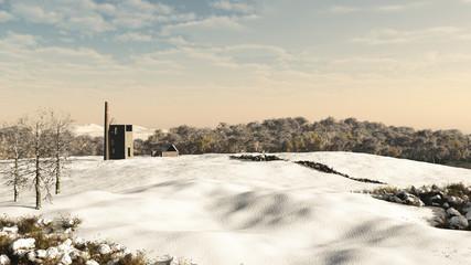 Cornish Mine Engine House in Snow