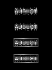 AUGUST counter calendar - english month, deutsch monat