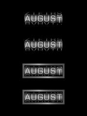 AUGUST counter calendar - english month, deutsch monat