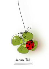 Grusskarte Kleeblatt Marienkäfer