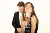Fototapety Frau mit Sektglas