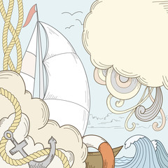Retro hand draw styled sea and sailor theme