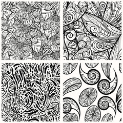 four vector seamless monochrome patterns