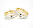 Wedding gold rings isolated on white. Vector