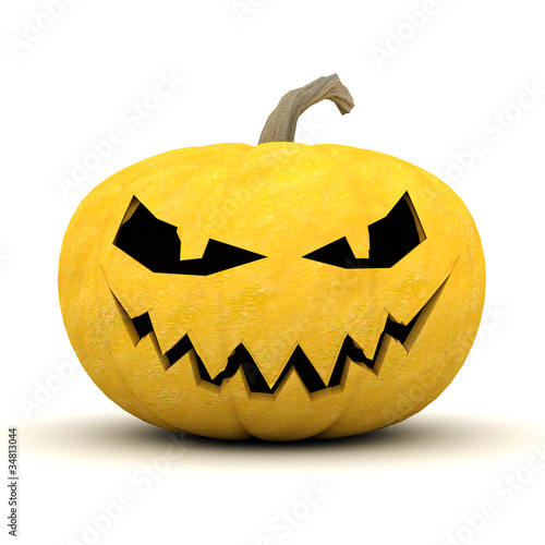 Image sinister pumpkins for Halloween on a white background