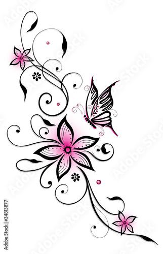 gamesageddon ranke flora bl ten schmetterlinge schwarz pink lizenzfreie fotos vektoren. Black Bedroom Furniture Sets. Home Design Ideas