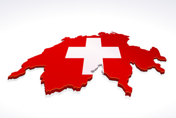 Map of Switzerland 3D (white background)