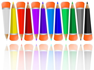 reflected pencils collection with rubbers