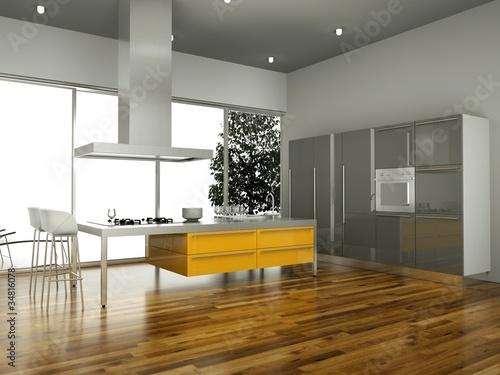 wohndesign gelbe k che von virtua73 lizenzfreies foto 34816078 auf. Black Bedroom Furniture Sets. Home Design Ideas
