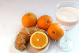 Yogurt milk and orange ,croissants