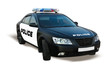 Leinwandbild Motiv Police car isolated on white, patrol automobile of policeman