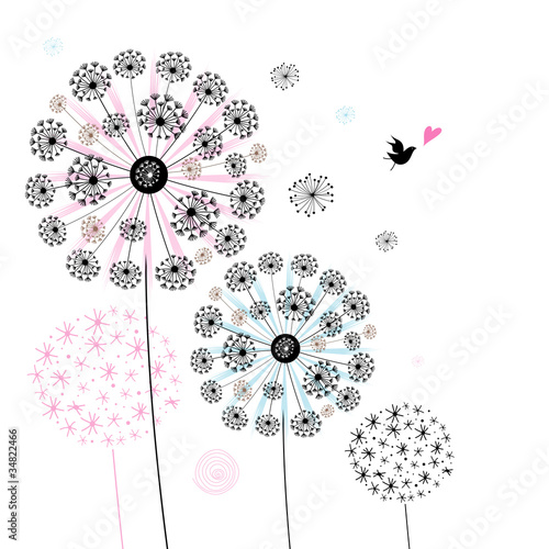 background of decorative dandelions © tanor27