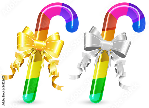 set of rainbow candy cane isolated on white background