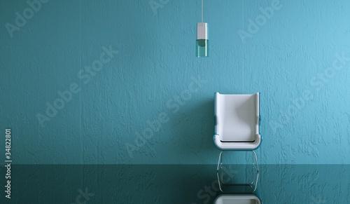 Wohndesign - weisser Stuhl vor blauer Wand