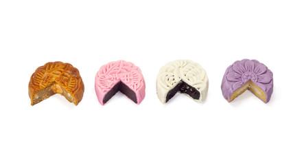 Four tasty mooncake on white background