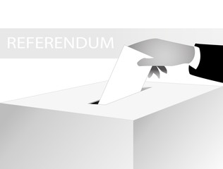 hand putting voting ballot in a voting box