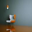 Wohndesign - orangener Stuhl