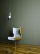 Wohndesign - Holzstuhl vor brauner Wand