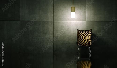Wohndesign - Stuhl mit Tigerfell
