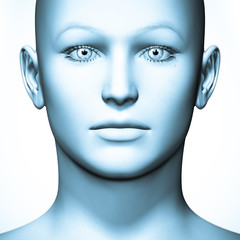 Human face in blue