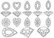 set of diamonds and gemstones, vector - 34828816