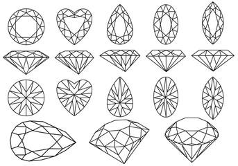 set of diamonds and gemstones, vector