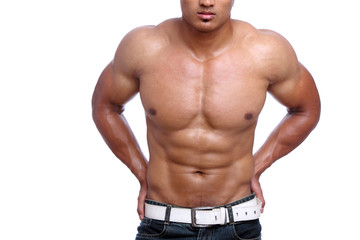Indian young fitness man posing to the camera