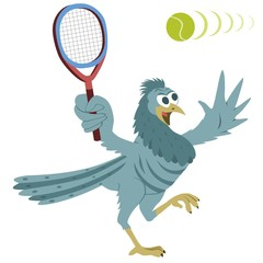 Bird with tennis racquet and ball