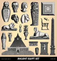 Engraving vintage funeral Egypt set