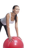 girl making abdomen exercise with fitball smiling poster