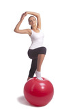 young caucasian girl accomplishing hips and hands muscles exerci poster
