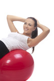 young girl accomplishing back muscles training and having fun, i poster