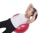 sensual dark hair brunette girl making back muscles regular trai poster
