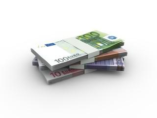 Euro Geldscheine - Geldstapel, Geldbündel