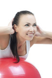girl making abdomen exercise with hands on the nape making neck poster