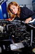 Woman at the mechanic