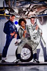 Mechanics in a garage
