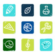 School and education icons set & elements isolated on white.