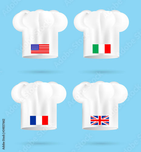 America France Italy and UK chef's hat isolated on the white