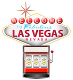 red slot machine with las vegas sign