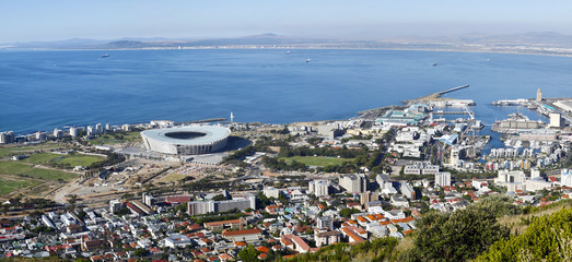 Panorama of Cape Town's waterfront, soccer stadium, and harbour