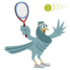 Bird with tennis racquet and ball (shoed)