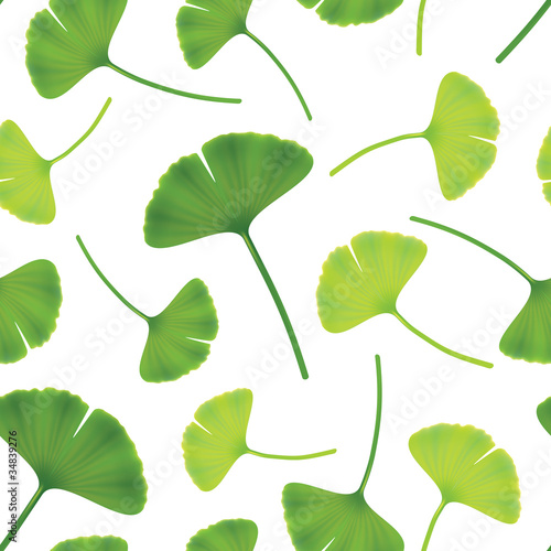 Leaves of ginkgo bilboa. Seamless vector illustration. © spline_x